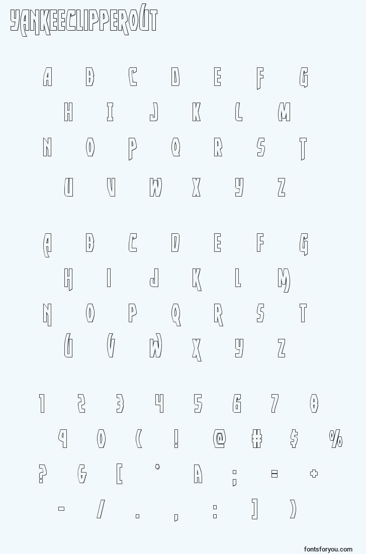 characters of yankeeclipperout font, letter of yankeeclipperout font, alphabet of  yankeeclipperout font
