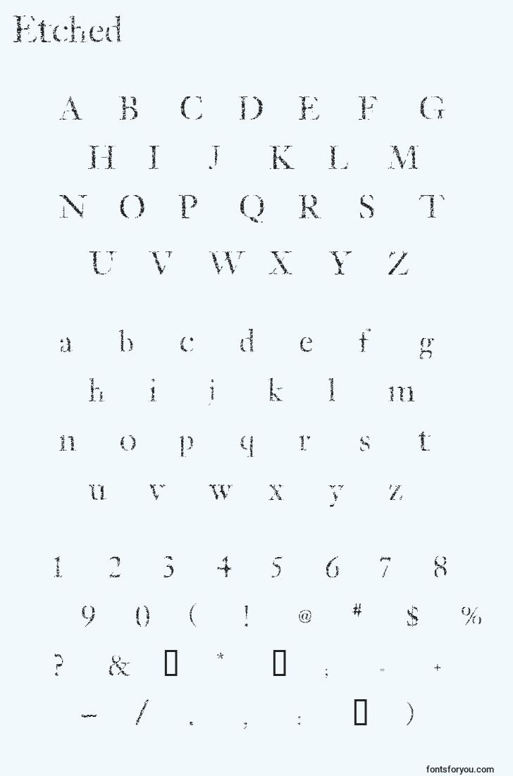 characters of etched font, letter of etched font, alphabet of  etched font