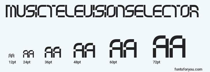 sizes of musictelevisionselector font, musictelevisionselector sizes