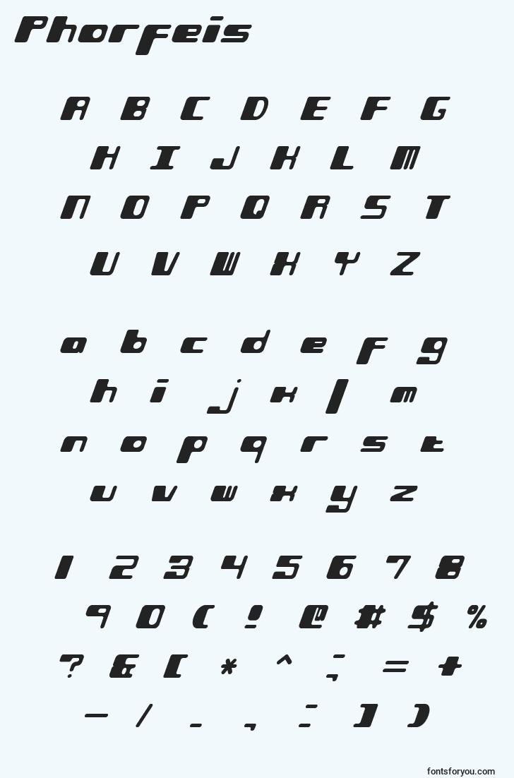 characters of phorfeis font, letter of phorfeis font, alphabet of  phorfeis font