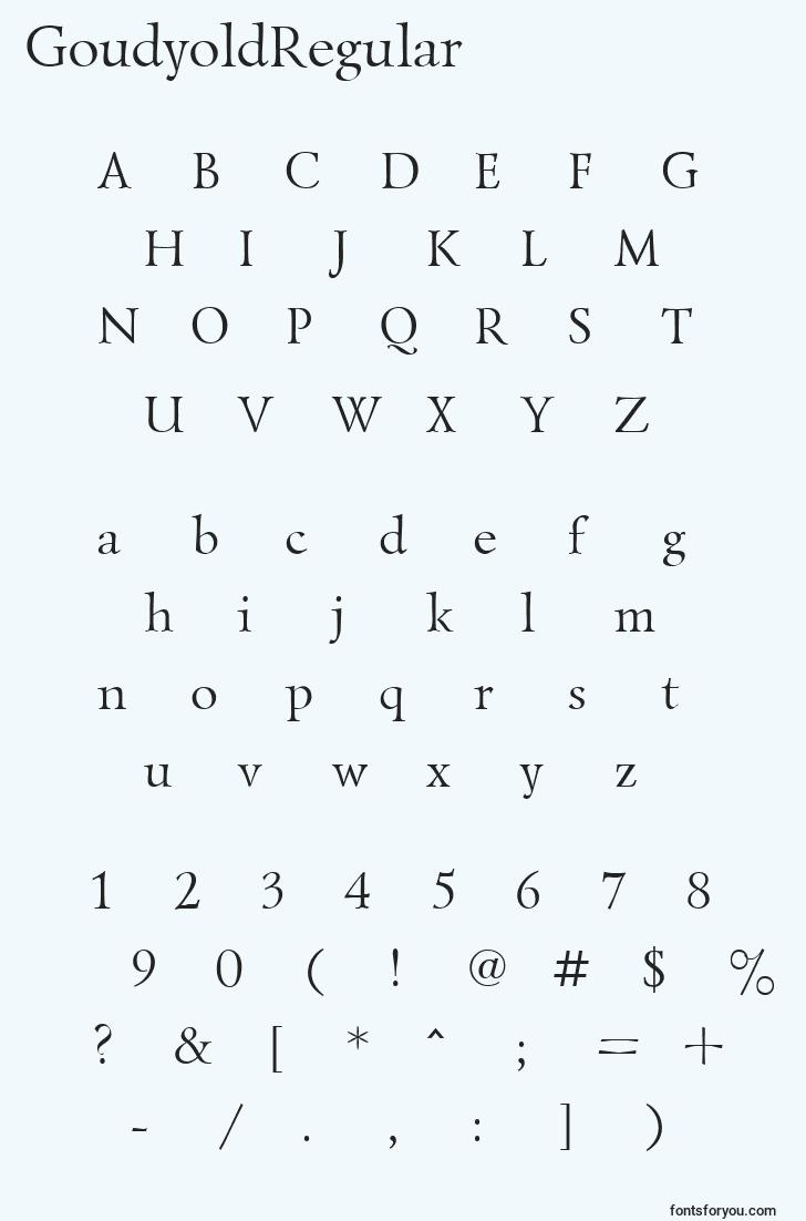 characters of goudyoldregular font, letter of goudyoldregular font, alphabet of  goudyoldregular font