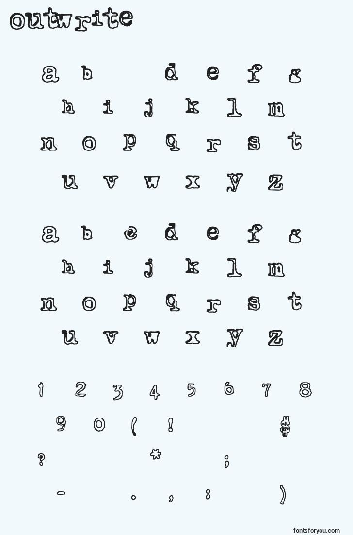 characters of outwrite font, letter of outwrite font, alphabet of  outwrite font