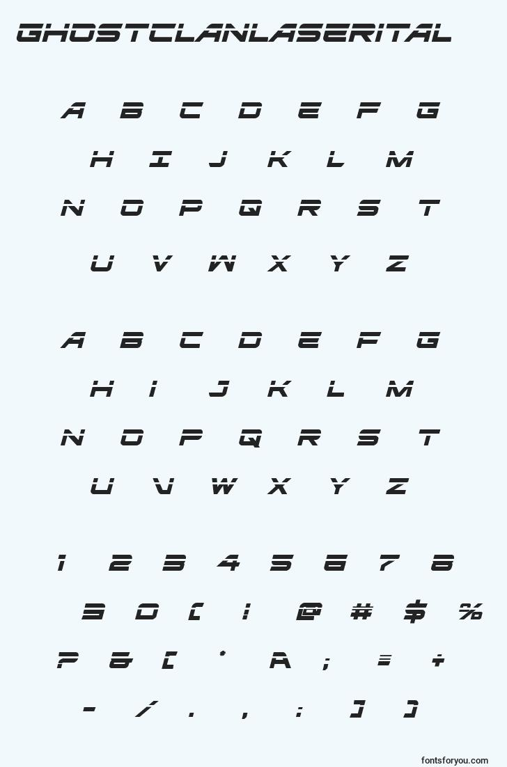 characters of ghostclanlaserital font, letter of ghostclanlaserital font, alphabet of  ghostclanlaserital font