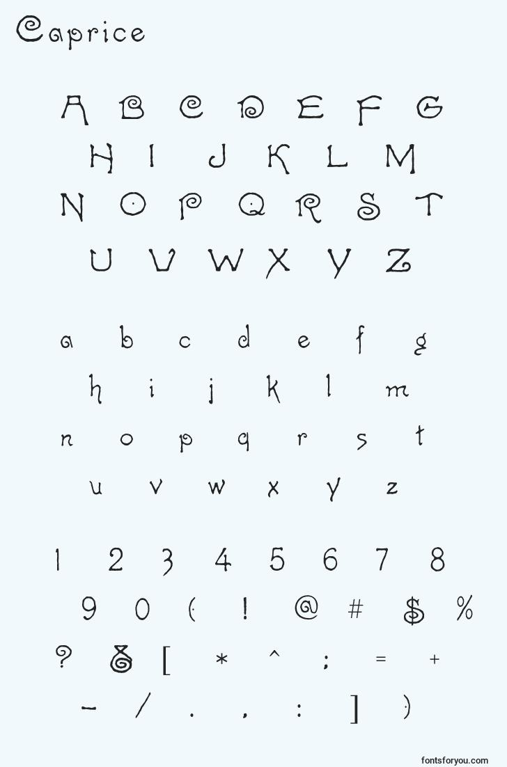 characters of caprice font, letter of caprice font, alphabet of  caprice font