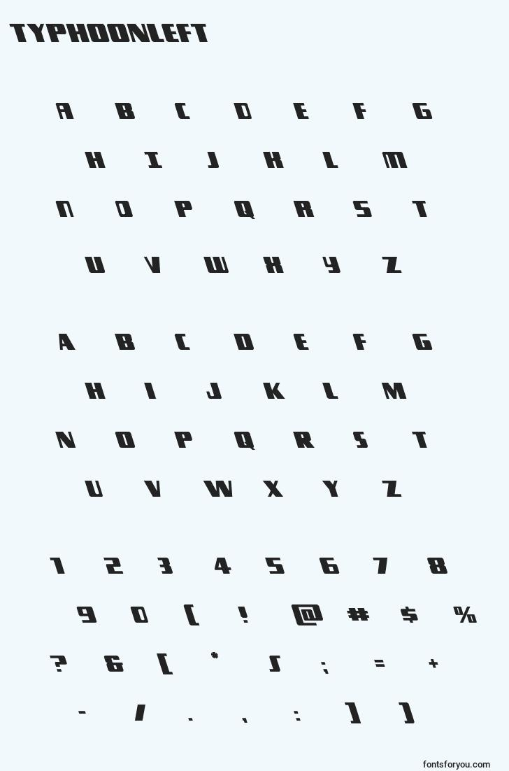 characters of typhoonleft font, letter of typhoonleft font, alphabet of  typhoonleft font