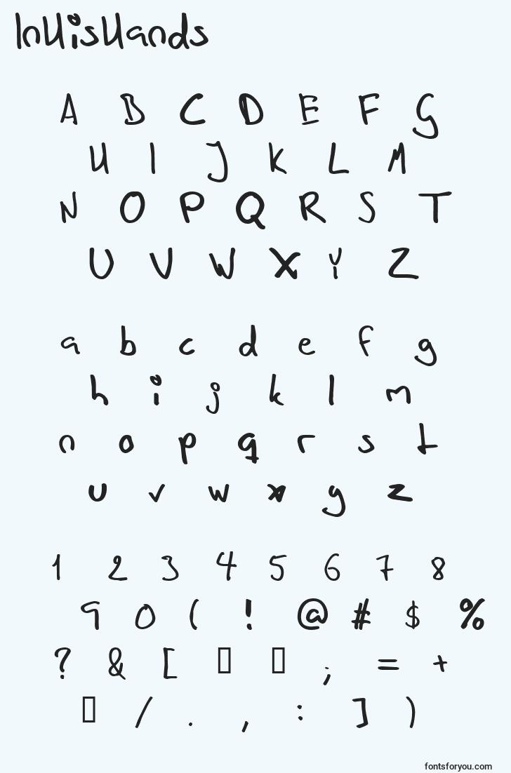 characters of inhishands font, letter of inhishands font, alphabet of  inhishands font
