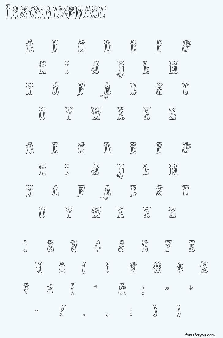 characters of instantzenout font, letter of instantzenout font, alphabet of  instantzenout font