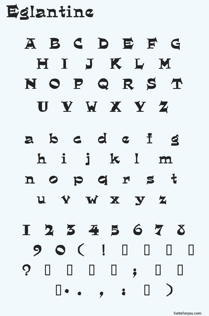 characters of eglantine font, letter of eglantine font, alphabet of  eglantine font