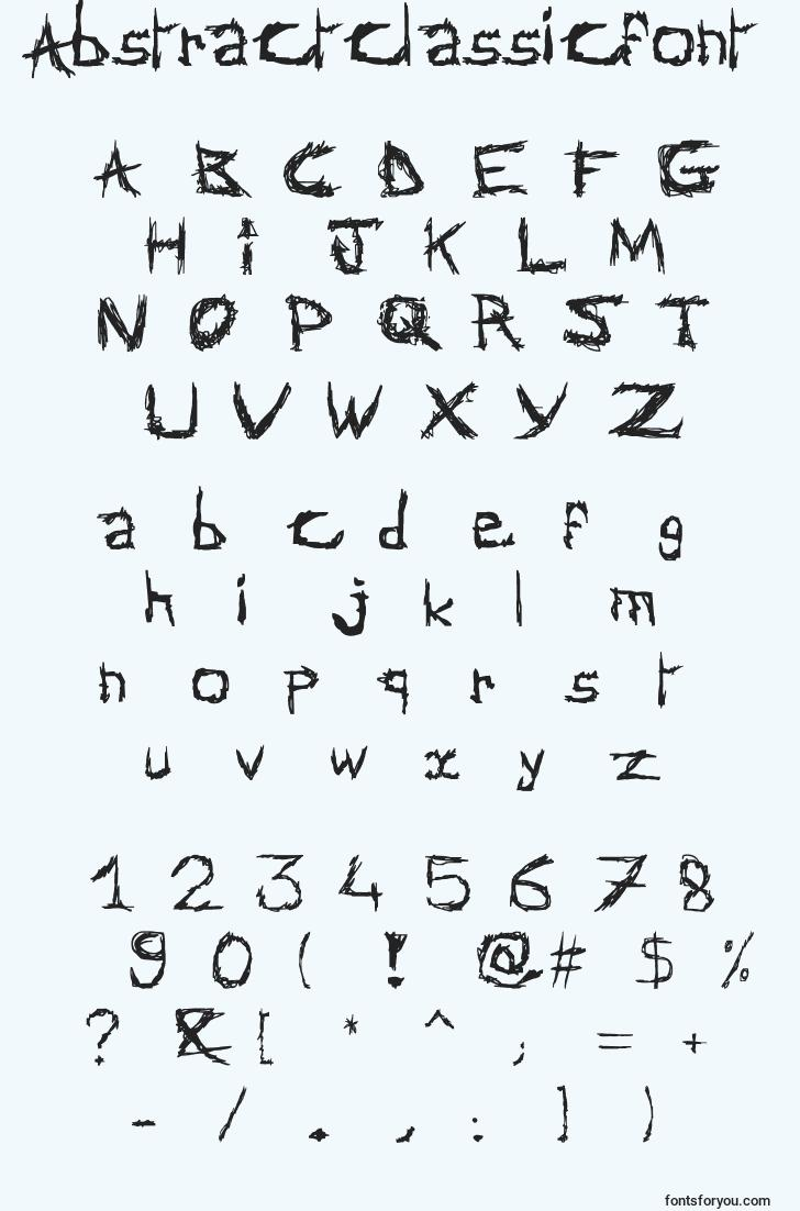 characters of abstractclassicfont font, letter of abstractclassicfont font, alphabet of  abstractclassicfont font