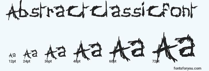 sizes of abstractclassicfont font, abstractclassicfont sizes