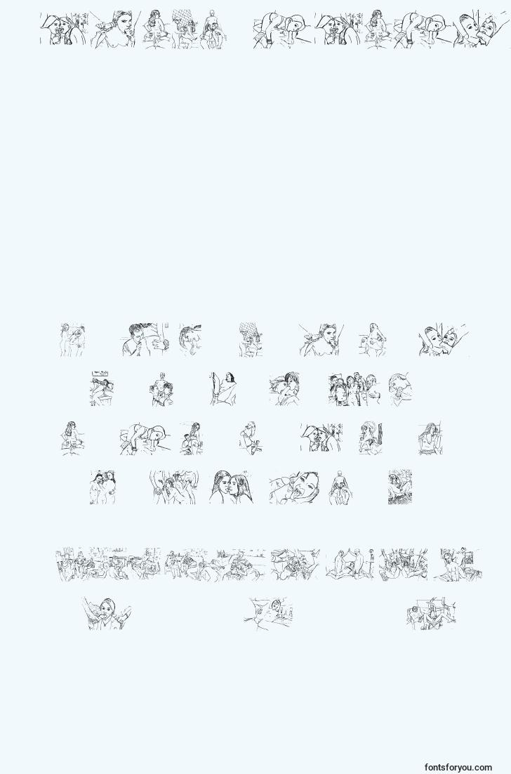 characters of trendypornography font, letter of trendypornography font, alphabet of  trendypornography font