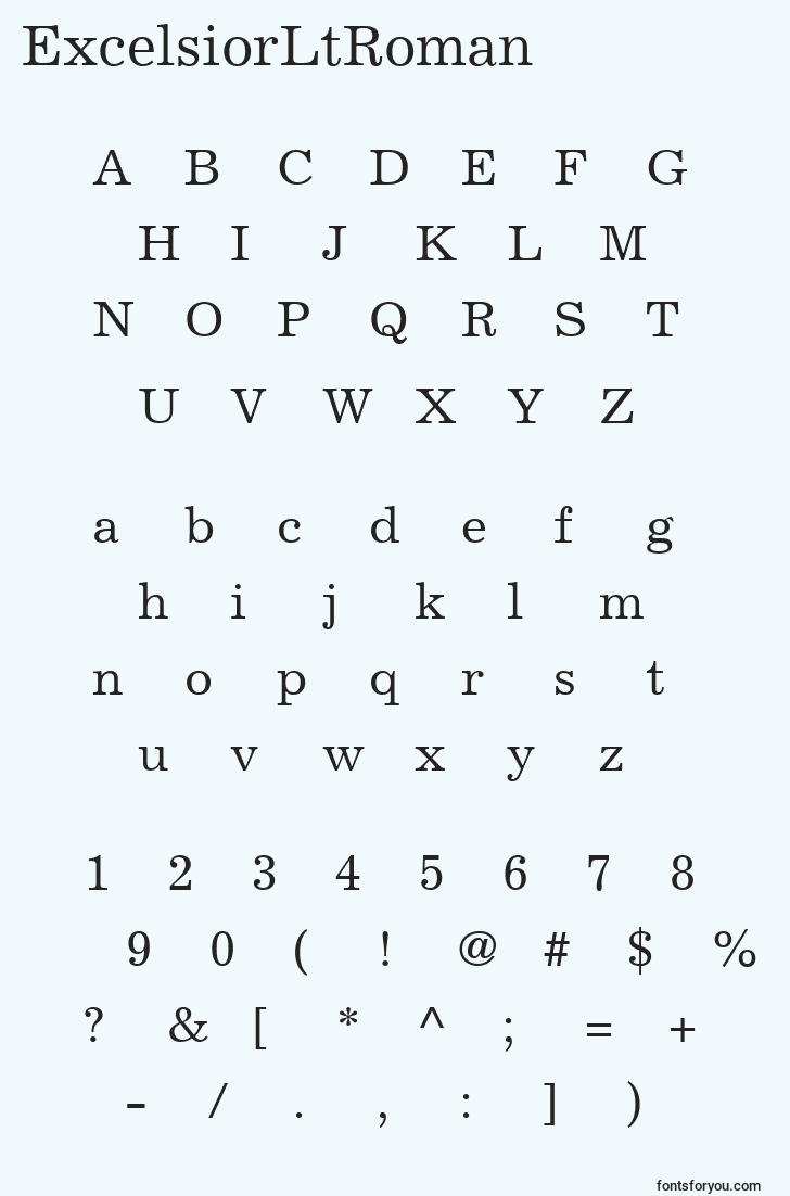characters of excelsiorltroman font, letter of excelsiorltroman font, alphabet of  excelsiorltroman font