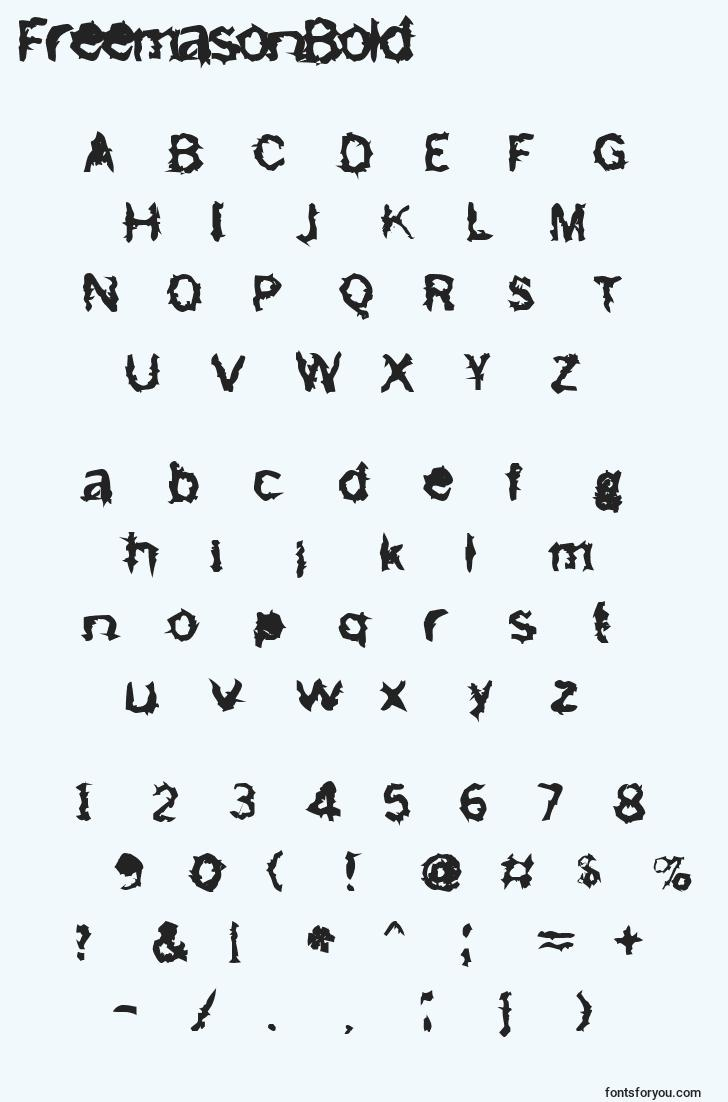 characters of freemasonbold font, letter of freemasonbold font, alphabet of  freemasonbold font