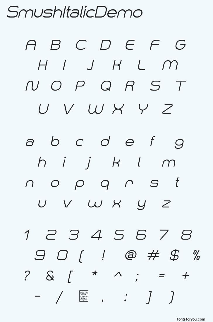 characters of smushitalicdemo font, letter of smushitalicdemo font, alphabet of  smushitalicdemo font