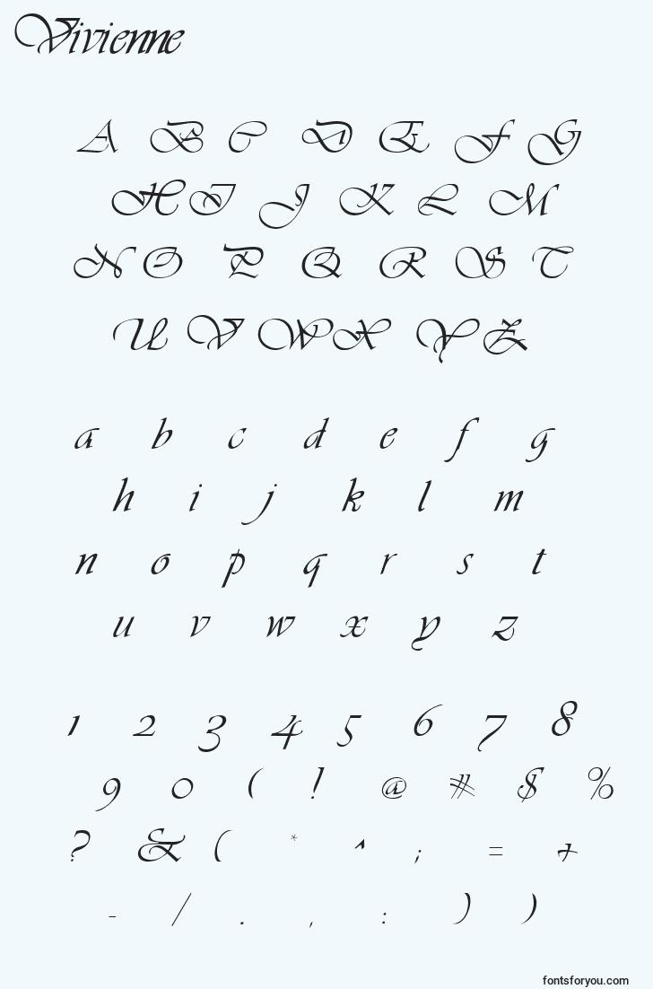 characters of vivienne font, letter of vivienne font, alphabet of  vivienne font