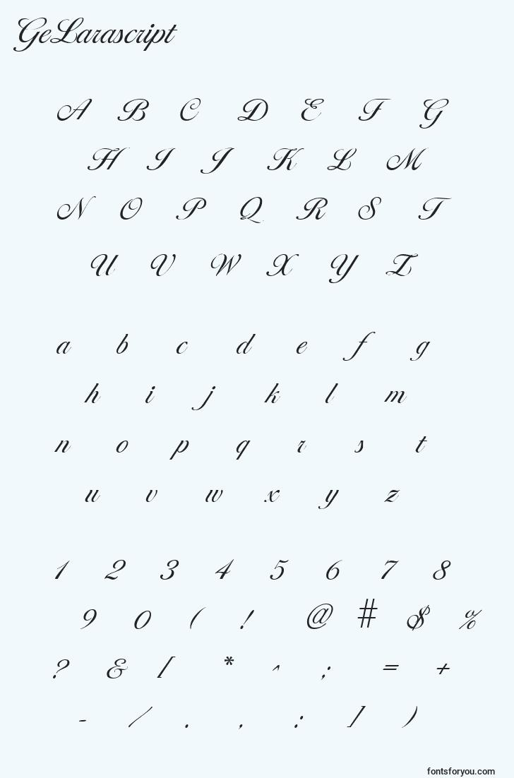characters of gelarascript font, letter of gelarascript font, alphabet of  gelarascript font