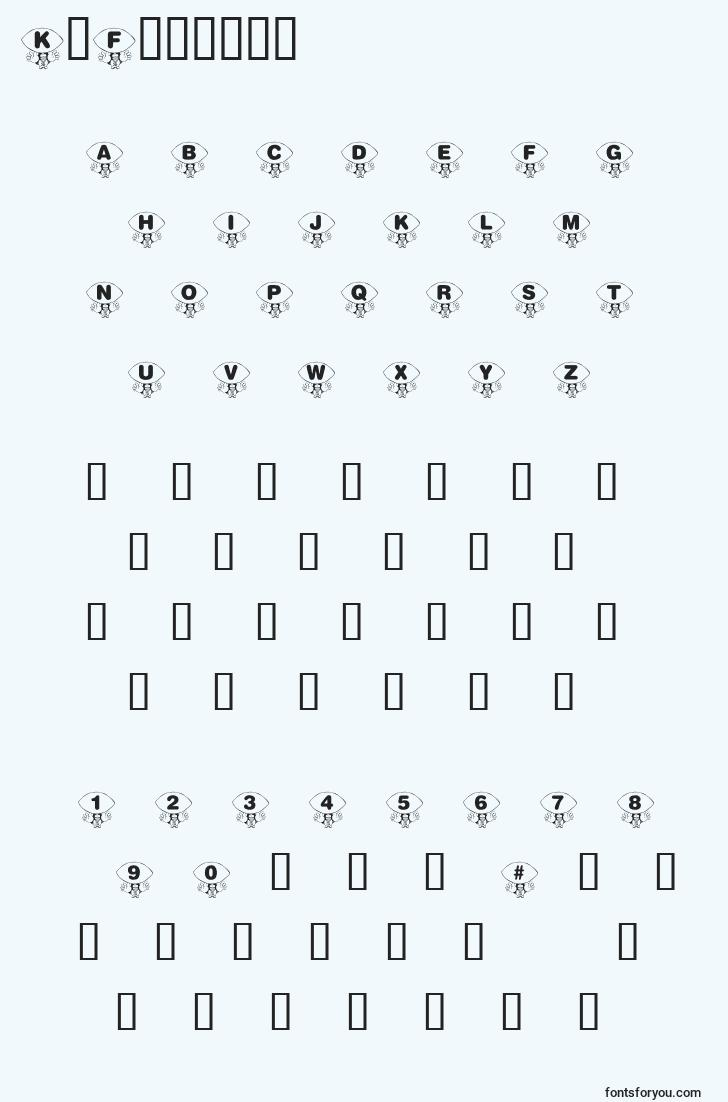 characters of krfooball font, letter of krfooball font, alphabet of  krfooball font