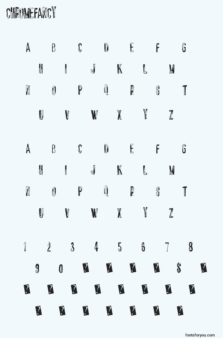 characters of chromefancy font, letter of chromefancy font, alphabet of  chromefancy font