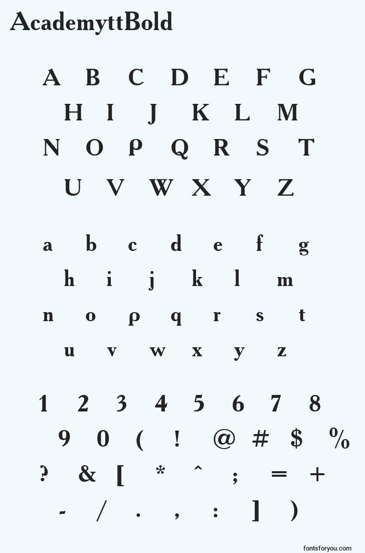 characters of academyttbold font, letter of academyttbold font, alphabet of  academyttbold font