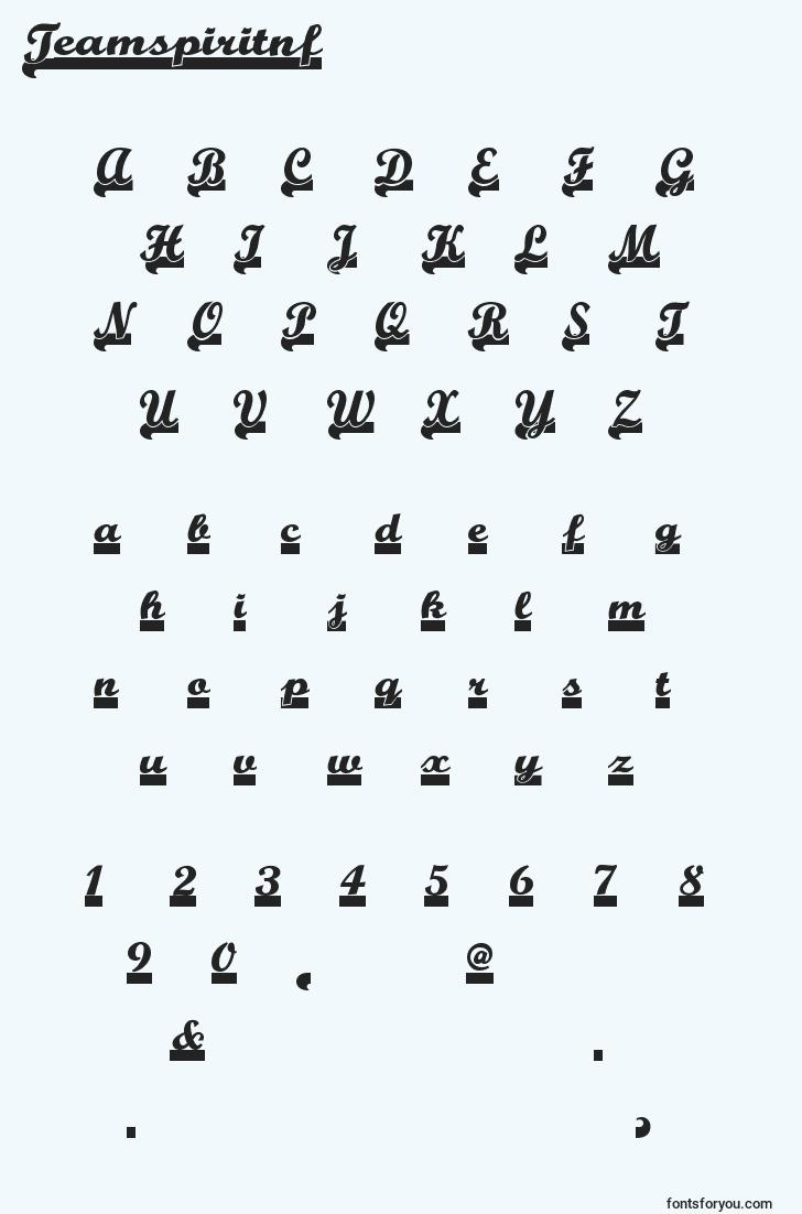 characters of teamspiritnf font, letter of teamspiritnf font, alphabet of  teamspiritnf font