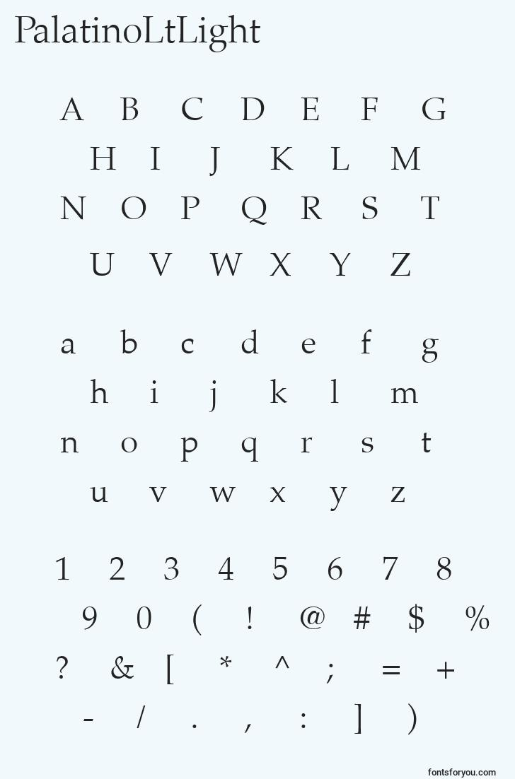 characters of palatinoltlight font, letter of palatinoltlight font, alphabet of  palatinoltlight font
