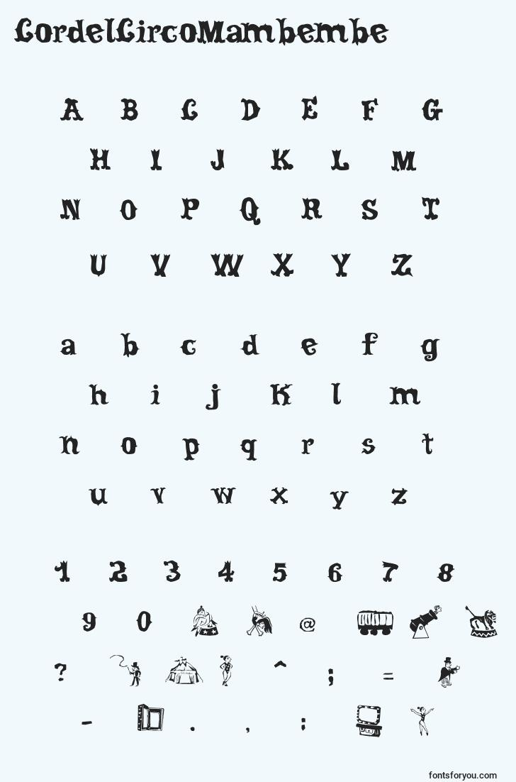 characters of cordelcircomambembe font, letter of cordelcircomambembe font, alphabet of  cordelcircomambembe font