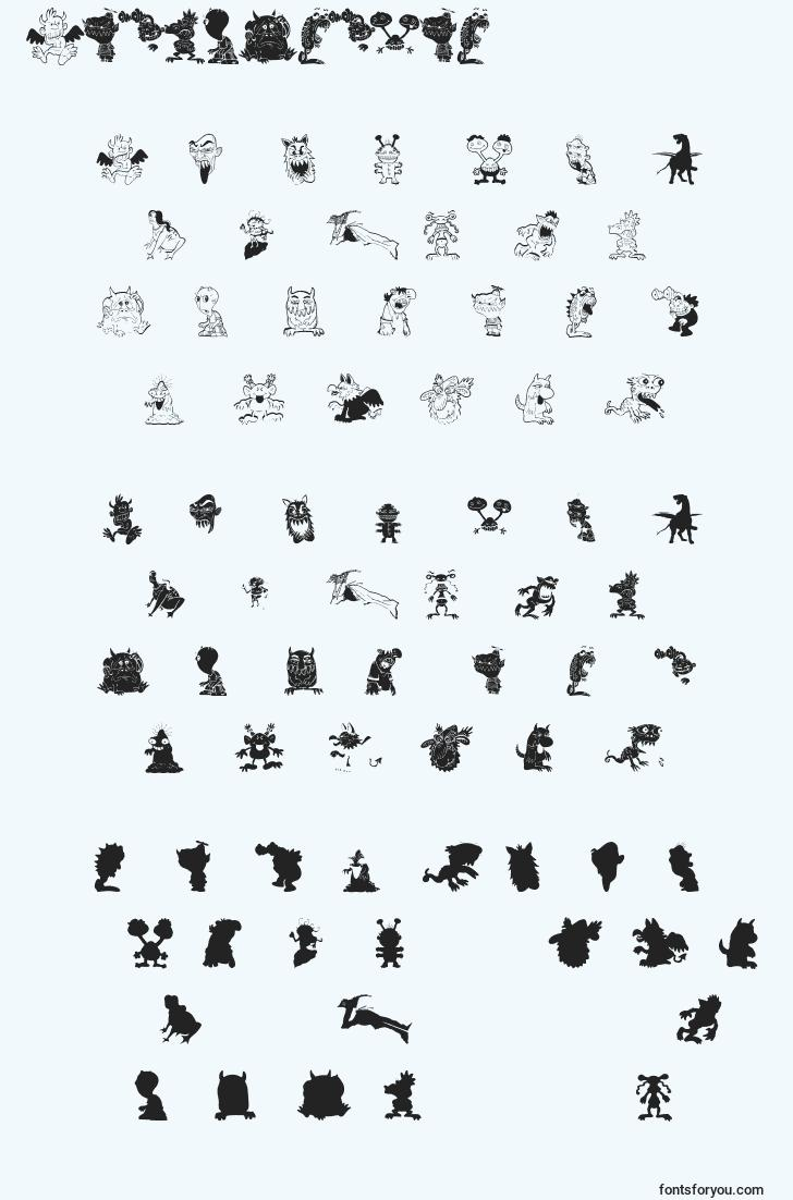 characters of artmonsters font, letter of artmonsters font, alphabet of  artmonsters font
