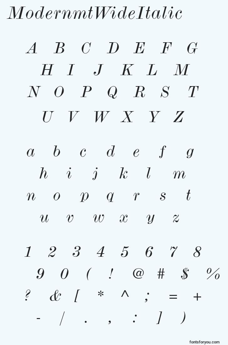 characters of modernmtwideitalic font, letter of modernmtwideitalic font, alphabet of  modernmtwideitalic font