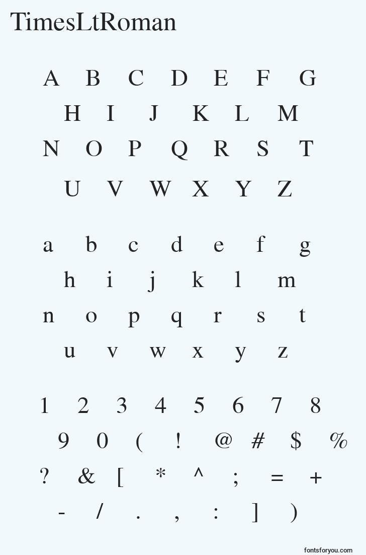 characters of timesltroman font, letter of timesltroman font, alphabet of  timesltroman font