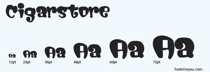 sizes of cigarstore font, cigarstore sizes
