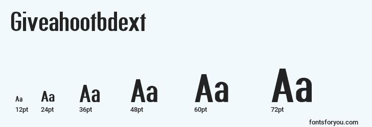 sizes of giveahootbdext font, giveahootbdext sizes