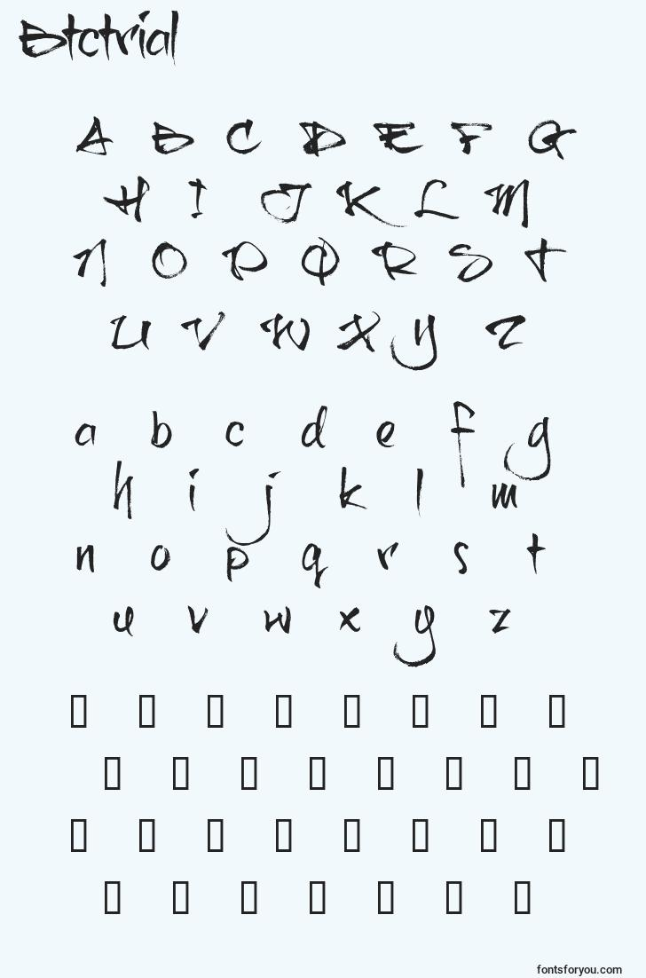 characters of btctrial font, letter of btctrial font, alphabet of  btctrial font