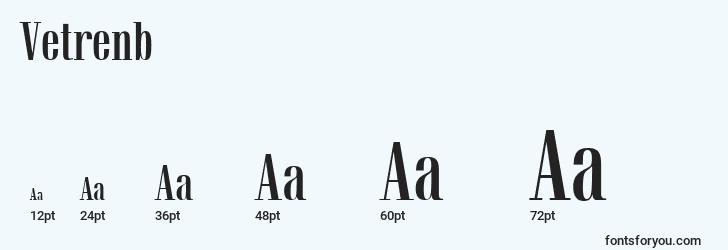 sizes of vetrenb font, vetrenb sizes