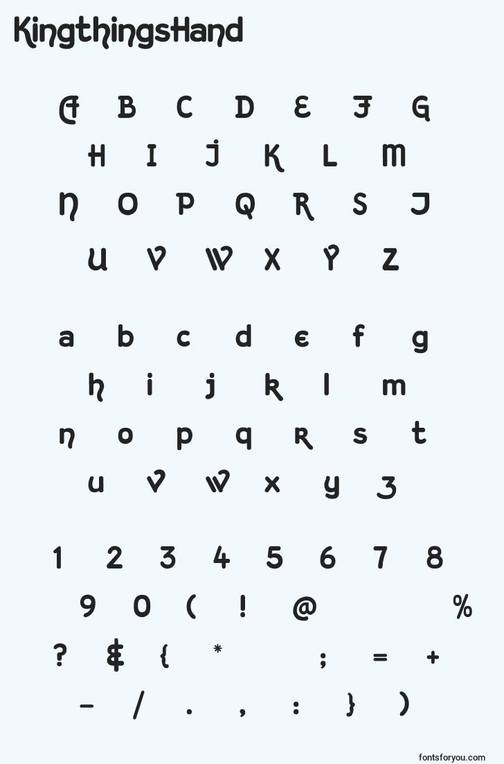 characters of kingthingshand font, letter of kingthingshand font, alphabet of  kingthingshand font