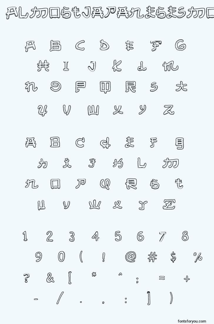 characters of almostjapanesesmooth font, letter of almostjapanesesmooth font, alphabet of  almostjapanesesmooth font