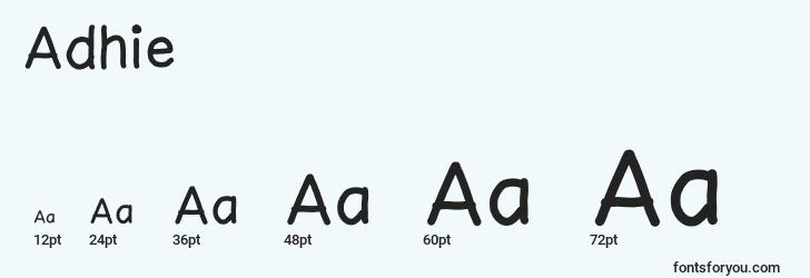 sizes of adhie font, adhie sizes