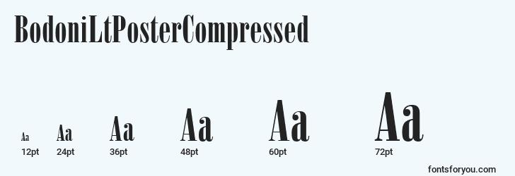 sizes of bodoniltpostercompressed font, bodoniltpostercompressed sizes