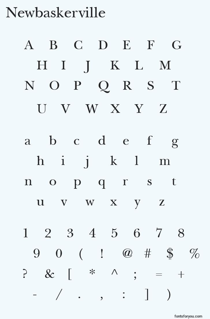 characters of newbaskerville font, letter of newbaskerville font, alphabet of  newbaskerville font