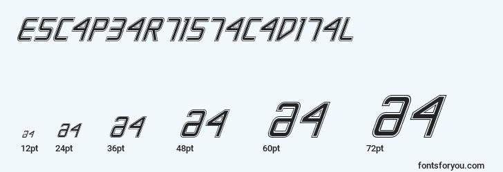 sizes of escapeartistacadital font, escapeartistacadital sizes