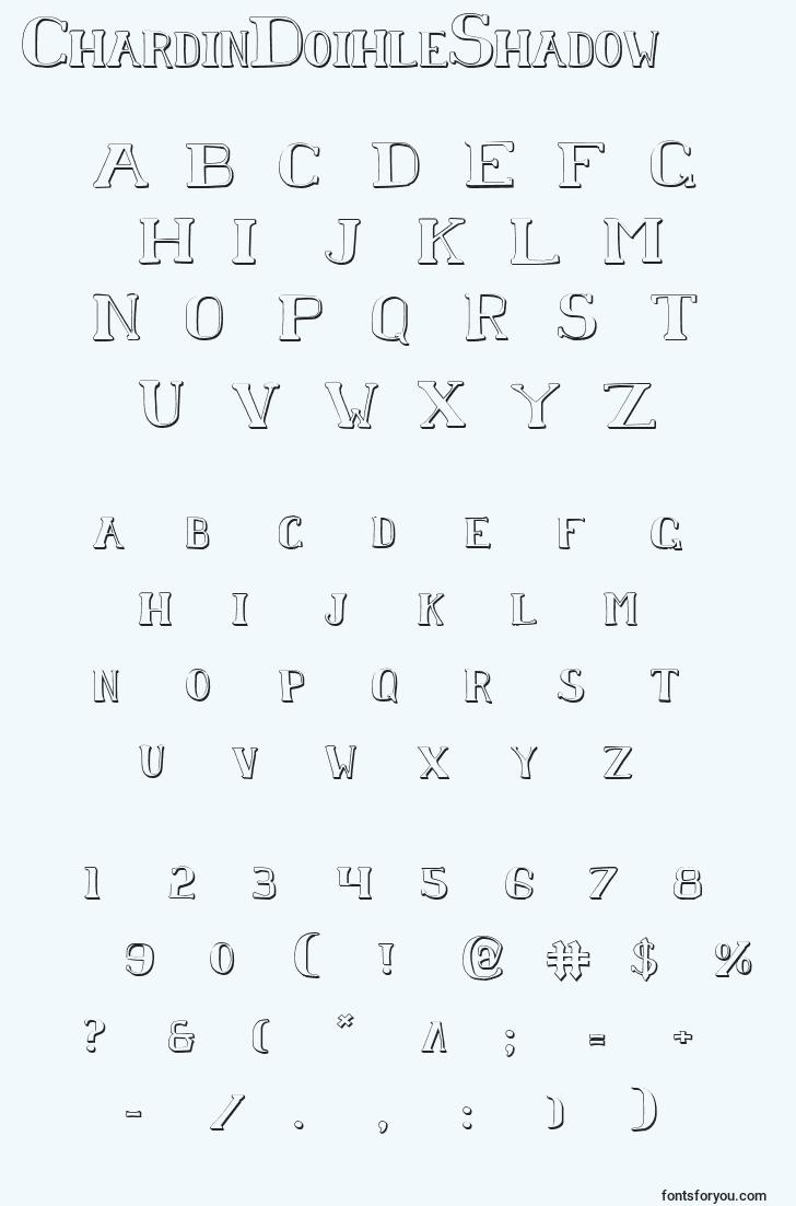 characters of chardindoihleshadow font, letter of chardindoihleshadow font, alphabet of  chardindoihleshadow font
