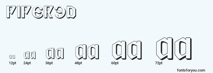 sizes of piper3d font, piper3d sizes