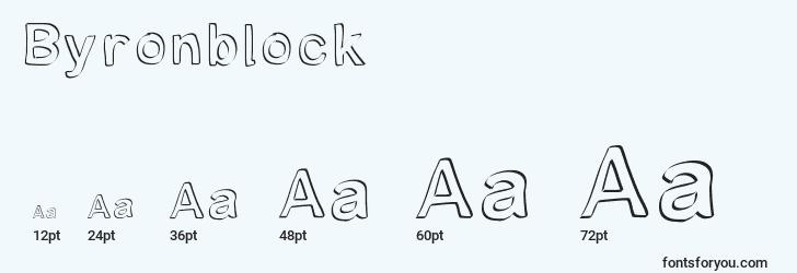 sizes of byronblock font, byronblock sizes
