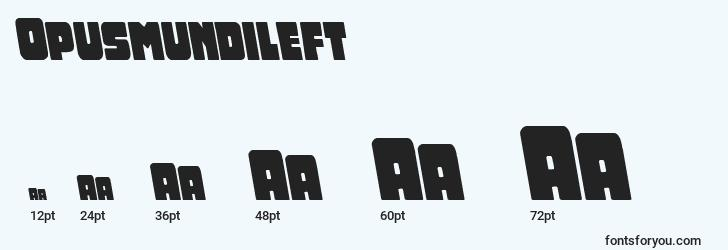 sizes of opusmundileft font, opusmundileft sizes