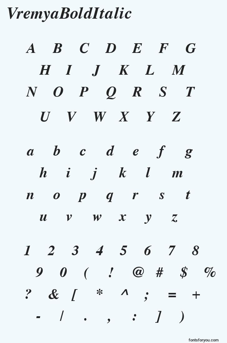 characters of vremyabolditalic font, letter of vremyabolditalic font, alphabet of  vremyabolditalic font
