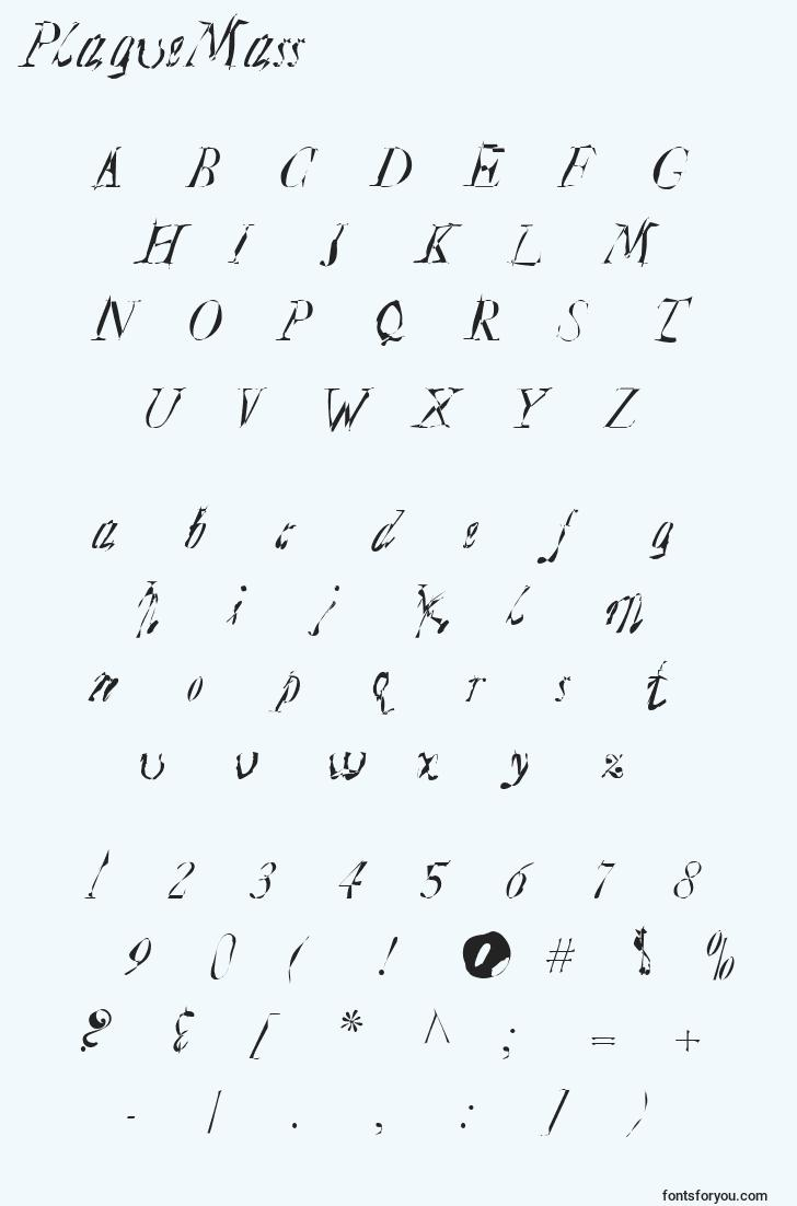 characters of plaguemass font, letter of plaguemass font, alphabet of  plaguemass font