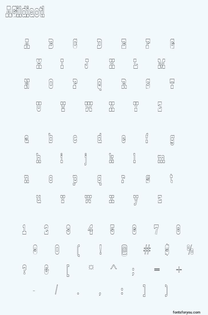characters of agildiaotl font, letter of agildiaotl font, alphabet of  agildiaotl font