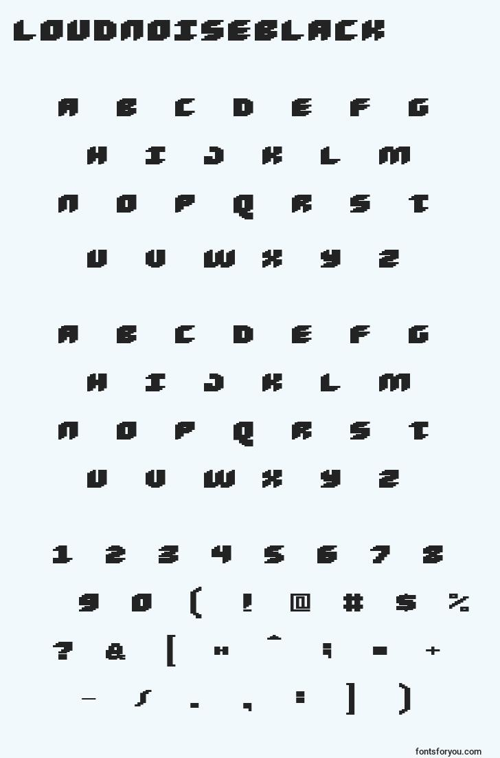 characters of loudnoiseblack font, letter of loudnoiseblack font, alphabet of  loudnoiseblack font
