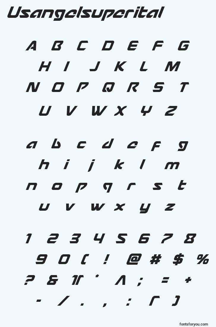 characters of usangelsuperital font, letter of usangelsuperital font, alphabet of  usangelsuperital font