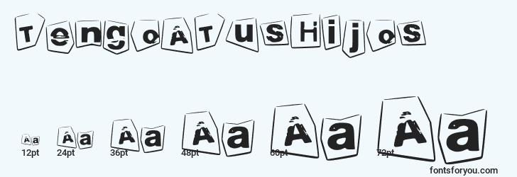 sizes of tengoatushijos font, tengoatushijos sizes