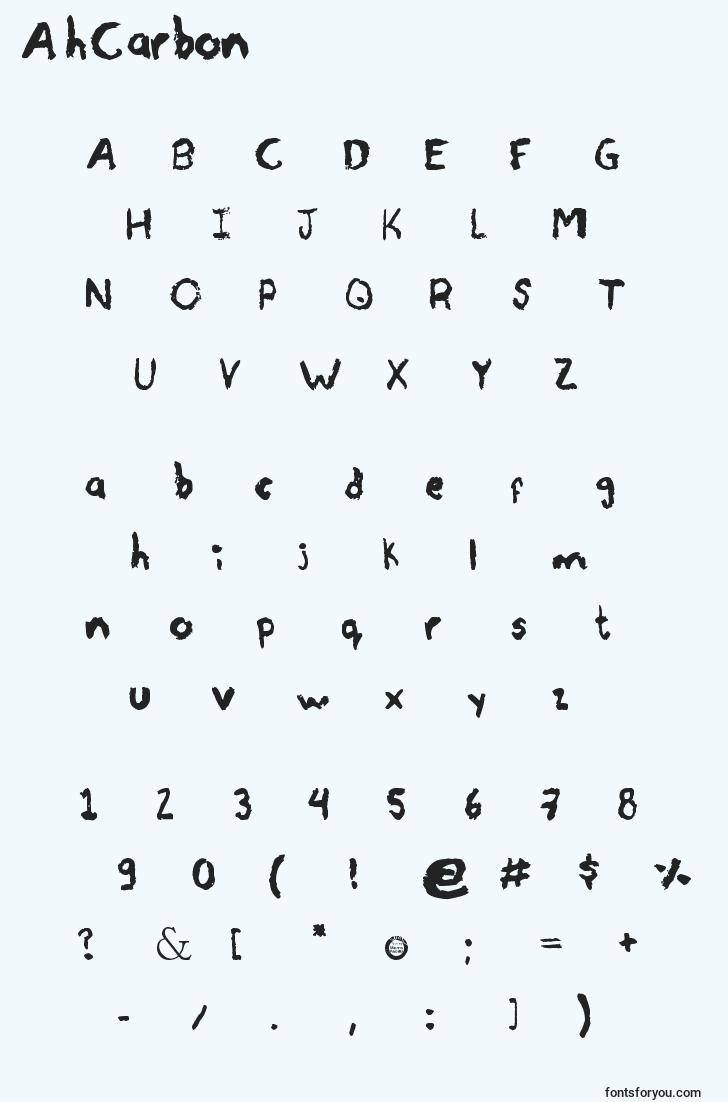 characters of ahcarbon font, letter of ahcarbon font, alphabet of  ahcarbon font